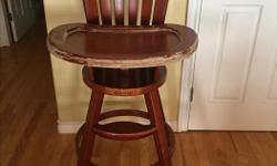 Wooden high chair in decent condition. Some wear on wood on tray, but otherwise in great working condition.