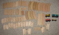Hello, we are selling about 60 pieces of wooden train track for Thomas and other trains. I think most of them are Brio or Thomas track. Some are double-sided with train tracks, some have road marks on the other side. The trains and track are in good