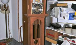 Works for a Grandfather's clock.  I purchased these German made works at  Colonial Clock Times in Waterloo Ontario.  Includes Moon Dial.  There are 3 different chimes. They can be shut off when necessary.  The case is started (in Cherry Wood) but is