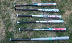 "Worth and Easton bats plus 1 Louisville for sale. ~Easton React 55 ~30"", 21 oz $20 ~Easton Typhoon~ 30"", 20 oz $20 ~Easton Power Bolt~ 29"", 22 oz $20 Worth Power ~29"", 22 oz $20 Worth Power Flex~ 28"", ? oz $20 Louisville slugger~ 33 1/2"", long ? oz $20 We"