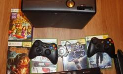 i have a Xbox 360 with kinect 1 year old,comes with 5 games COD world at war,the bigs 2,NHL 08,kinect adventures,dangerous hunts 2011. comes with 2 controllers,hunting gun with scope,headset, guitar hero drum set,new hdmi cable,16 gig usb stick and all