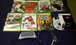 Will sell separately or as a package. Make me an offer! . NHL 09 . UFC 09 . PGR4 . NFS Pro Street . Mx vs. ATV untamed . Guitar Hero 2 . Guitar Hero 3 . Forza 3 (no case but have booklet) . Chat pad for remote . Wired headset