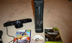 XBOX 360 councel 250MB hard drive comes with Kinect and 3 games