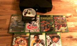 Original xbox barley used, great working condition ! 80.00 O.B.O   Games include:  Motorsport, Fuzion Frenzy, Casino, MVP Baseball 2005, Rugby 2005, Top Spin, 2K6 Major League Baseball.
