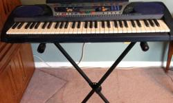 Great portable keyboard for beginner or for practicing at home. Comes with 61 touch-sensitive keys, includes Yamaha Education Suite/ tutor function and DJ mode. In excellent condition and includes a Profile Keyboard Stand, book holder and charger. $120