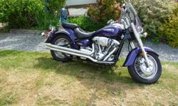 Unfortunately medical reasons are making me sell my beautiful Purple and Chrome Yamaha Roadstar. This bike has never been dropped, all services have been done, It comes with Vance Hines Long shot pipes, and the original pipes, also the bike has a hyper