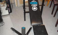 """York 0189 weight bench $40 or best offer Press bar and weights not included 44"""" in length - 20"""" widest width"""
