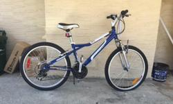 New with tag on. It's a 2015 model Infinity. It a junior size bike with 24 inch wheels, 15 speeds and hasn't ridden more than a few blocks. May need a little shifter adjustment. List price $299.00; usually sold through Costco.