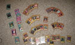 About 60 of the original Yu-Gi-Oh cards for sale for $15.00 obo. 10 of them are holographic. Please email for more information.