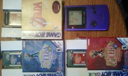 Hello I am selling 3 zelda Game Boy Colour games and a Game Boy Colour. I am selling: The Legend of Zelda: Oracle of Ages and Seasons The Legend of Zelda: Links Awakening DX (the Deluxe version comes with added content) A purple game boy colour.