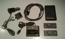 I have the following Zune accessories for sale: - Dock + A/V cable + two remotes (with new batteries): $35 - FM transmitter for in-car use: $30 - Leather case: $5 Prices are as shown, or $60 for everything. All prices are firm. Thanks for looking. :-)